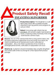 Infantino Sling Rider Recall Notice